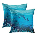 Emvency 16x16 Inch Decorative Set of 2 Throw Pillow Cover Blue Coral Reef Fishes and Silhouette of Freediver in Monofin Dolphin On Sea Square Home Cushion Sofa Two Sides Pillow Case