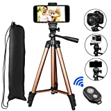 Phone Tripod, PEYOU 50'' Aluminum Camera Tripod + Bluetooth Wireless Remote Control Shutter + Universal Smartphone Holder Mount Compatible for iPhone X 8 Plus 7 6 6s Plus,Galaxy Note 8 S9 S8 Plus S7 S6