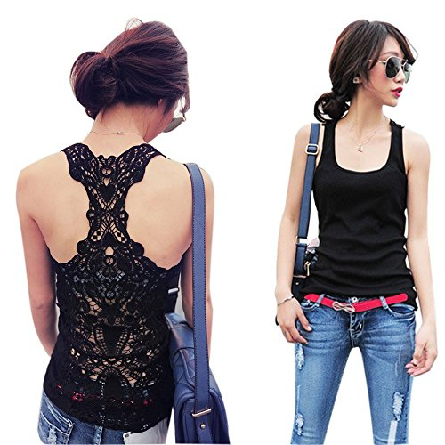 Sexy Lace Hollowed-out Flower Tank Top Sleeveless Women Casual T-shirt Vest (Black)
