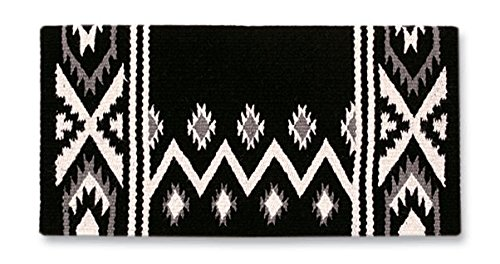 Mayatex New Phoenix Saddle Blanket, Black/Ash/Cream, 38 x 34-Inch ()
