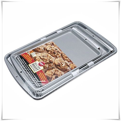 New Baking Cookie Pan Sheet 3 Pc Set Non Stick Oven Kitchen Pizza Muffin Bakeware