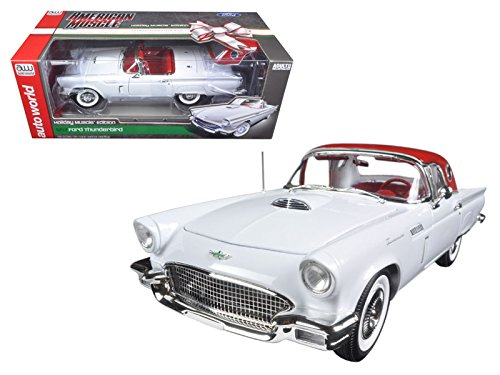 1957 Ford Thunderbird Convertible White 2016 Christmas Edition Issue #3 Limited Edition to 1002pcs and Numbered Chassis 1/18 by Autoworld (Ford Thunderbird Diecast Model)
