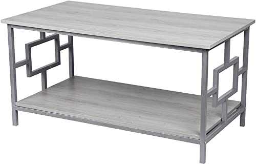 GIA Coffee Table with Lower Storage Shelf, Oak Gray
