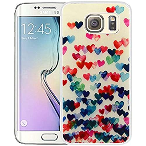 S7 Edge Case Samsung Galaxy S7 Edge Case Viwell TPU Soft Case Rubber Silicone Peach Colorful Hearts Sales