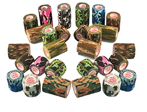 Vet Wrap Tape Self Adhesive Cohesive Bandage, FDA Approved, Camo Camouflage Colors Dog Cat Horse Self Stick Adherent Bandaging Tape Protect Cover Outdoor Gear 4 inch x 5 Yards 2, 4, 6, 12 or 24 Pack