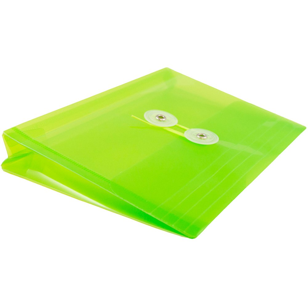 JAM PAPER Plastic Envelopes with Button & String Tie Closure - Index Size - 5 1/2 x 7 1/2 - Lime Green - 12/Pack by JAM Paper (Image #4)
