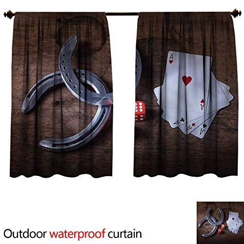 BlountDecor UPF Outdoor curtainAnti-Water W72 x L63(183cm x 179cm) Western,Card Game Dices Horseshoes