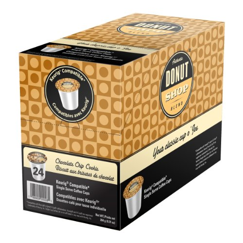 Authentic Donut Shop Blend Chocolate Chip Cookie Single-Cup Coffee for Keurig K-Cup Brewers, 24