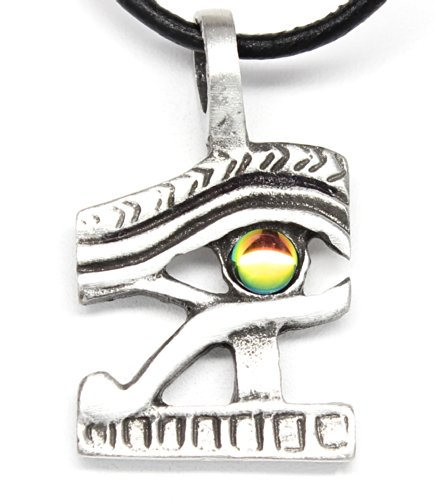 Trilogy Jewelry Pewter Eye of Horus Ra Egyptian Pendant on Leather Necklace w/Rainbow Austrian - Pewter Moon Crystals Austrian
