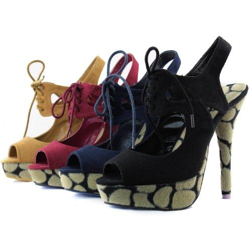 Scarpe Da Donna Con Plateau E Cinturino Alla Caviglia Con Fibbia Alla Caviglia E Stampa Leopardata