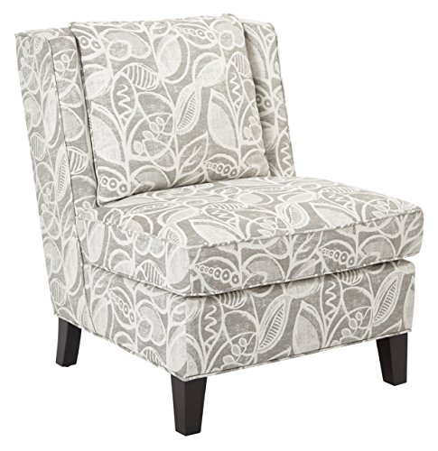 AVE SIX Marseilles Upholstered Accent Chair with Solid Wood Legs, Field Charcoal