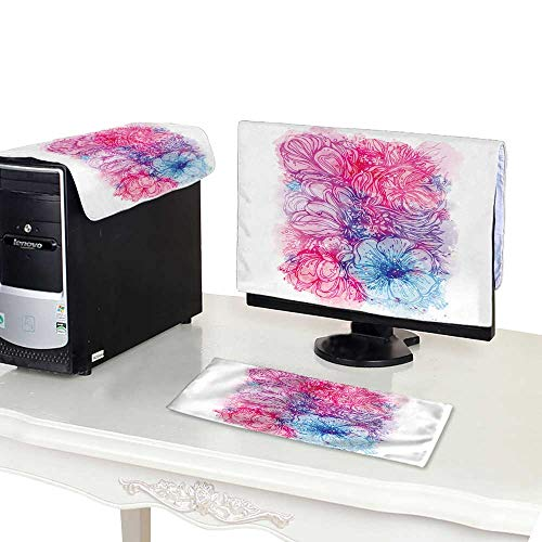 Top Bouquet Pillow (Miki Da CPU Cover Computer dust 19''MonitorSet Bright Pink Purple Background with Watercolor Stains and Bouquet of)
