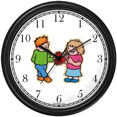 Boy and Girl with Valentine Wall Clock by WatchBuddy Timepieces (White Frame)