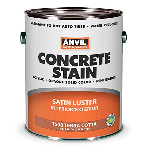 ANViL Acrylic Solid Color Interior/Exterior Concrete Stain, 1 Gallon, Terra Cotta