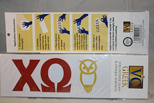 Chi Omega Sticker of Letters & Moon Mascot for Outside Glass, Car, Tablet