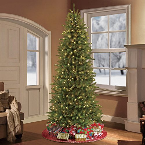 Puleo International 7.5 ft. Pre-Lit Slim Fraser Fir Artificial Tree with 500 Clear UL Listed Lights Christmas, Green