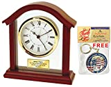 Engraved Anniversary Wedding Retirement Clock with Gold Holder Carriage Designer Wood Employee Recognition Service Award