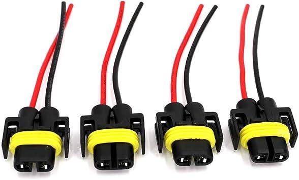 4Pcs H11 Female Socket Connector Adaptor Wiring Harness For Headlight Fog Lights