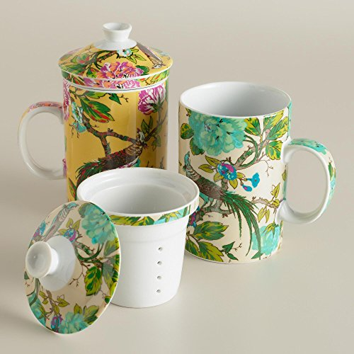 Birds in an English Garden Infuser Porcelain Teacup Mug with Lid and Filter - 12 Oz (Yellow) - English Garden Porcelain