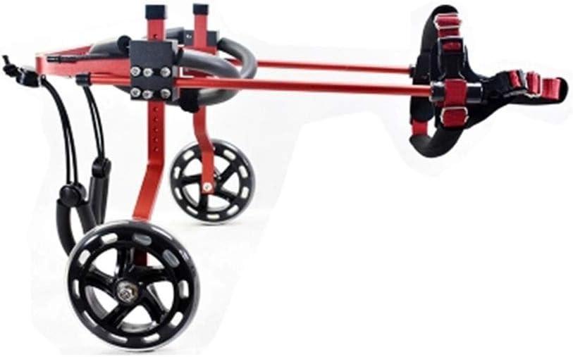 FFLSDR Silla de Ruedas para Perros y Gatos, Silla de Ruedas para Mascotas con discapacidad, Carro para extremidades posteriores, ciclomotor para Mascotas pequeñas (Color : Rojo, Tamaño : XXXS)