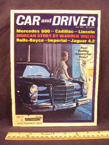 1965 65 July CAR AND DRIVER Magazine (Features: Road Test on Renault Gordini, + Cadillac Fleetwood, Lincoln Continental, Imperial LeBaron, Mercedes Benz, Rolls Royce Silver Cloud III, & Jaguar Mark X)