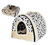 Pets&co Cat house, 17.7'' long, Dalmatian, 2-in-1 house for cats and small dogs, easily turning into a bed for cats and small dogs