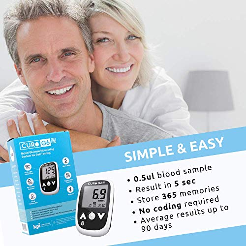 CURO G6s Glucose Bluetooth Home Test Kit – Blood Sugar Monitor Device and Included Set of 50 Strips (Limited TIME Promotional Offer) 51dHQ2YnL 2BL