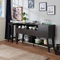 Furniture of America Glenwood Modern Multi-Storage Dining Buffet, Cappuccino