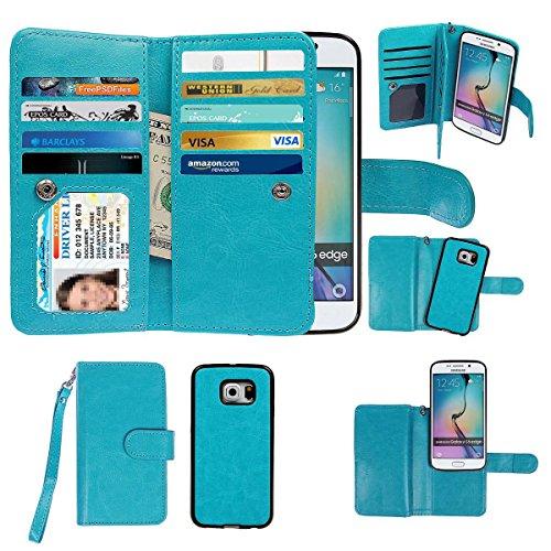 xhorizon Premium Leather Folio Case [Wallet Function] [Magnetic Detachable] Fashion Wristlet Lanyard Hand Strap Purse Multiple Card Slots Cash Compartment Pocket for Samsung Galaxy S6 Edge