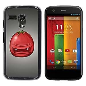 QCASE / Motorola Moto G 1 1ST Gen I X1032 / tomate enojado fruta roja la cara del retrato / Delgado Negro Plástico caso cubierta Shell Armor Funda Case Cover