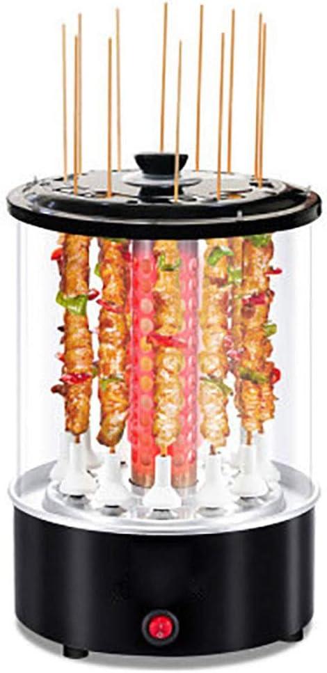 LPP Rotisserie Grill Sin Humo del Pincho 360 ° Rotación Automática De 12 Secuencias Kebab Automática De Temperatura Constante, 1100W, Negro