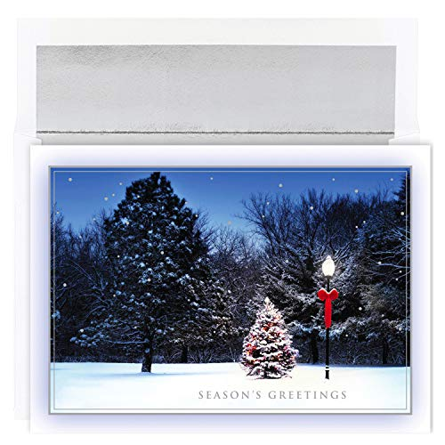 Masterpiece Studios Silver Paper - Masterpiece Studios Holiday Collection 18 Cards / 18 Foil Lined Envelopes, Tree & Lamplight