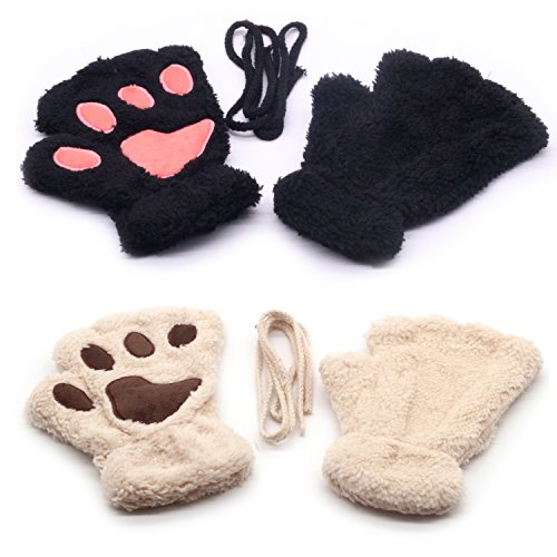 Women Fingerless Cat Paw Gloves Winter Warm Anime Mitten Gloves Black Beige -