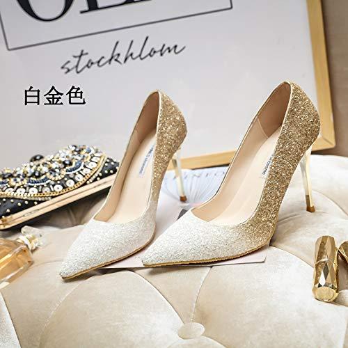 MLGSDW Hochhackige Schuhe Feine Weibliche Feine Schuhe Ferse Schrittweise Pailletten Scharfe Kristall Braut Schuhes34 [7.5Cm] Platin - 289cf1