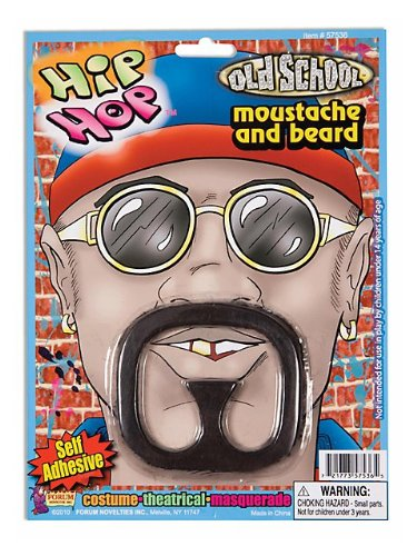 Facial Hair Halloween Costumes (Forum Novelties Goatee/Hip-Hop/Rap Star Moustache and Beard Set)