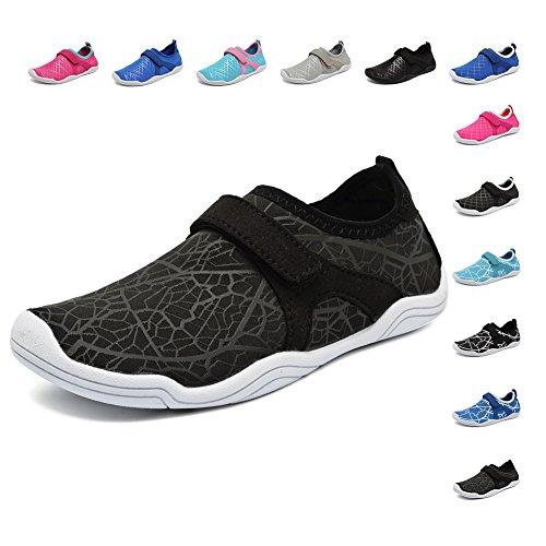 Fanture Girls & Boys Water Shoes Lightweight Comfort Sole Easy Walking Athletic Slip on Aqua Sock(Toddler/Little Kid/Big Kid) U4JSX001-W.black-30 by Fanture