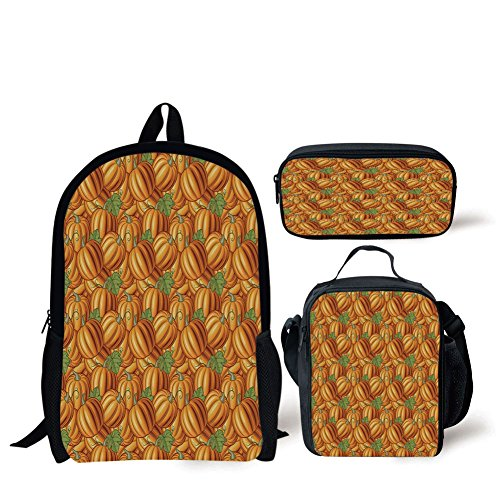 School Lunch Pen Bags,Harvest,Pumpkins in a Vibrant Colored Pattern Natural Ingredients Vegetarian Organic Food Decorative,Orange Green,Personalized Print -