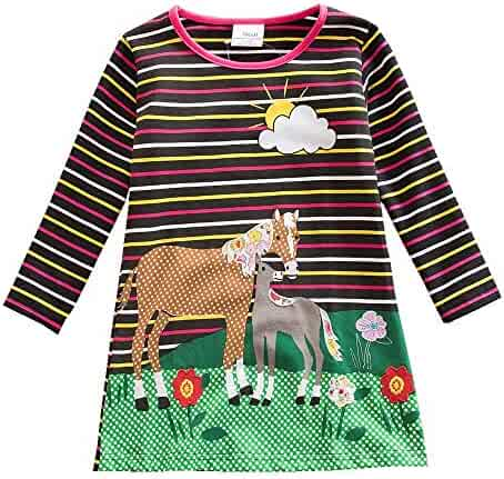 b755addcc9 JUXINSU Winter Toddler Girl Flower Cotton Long Sleeve Dresses Animal Pony  Butterfly Striped for Kids 1