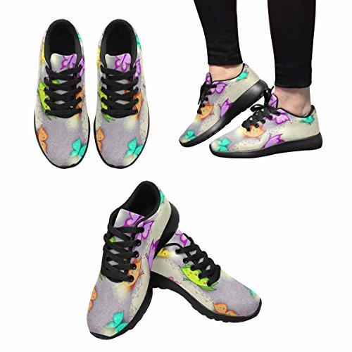 D-story Jogging Running Sneaker Butterfly Donna Casual Comfort Sport Walking Scarpe Da Corsa Nere
