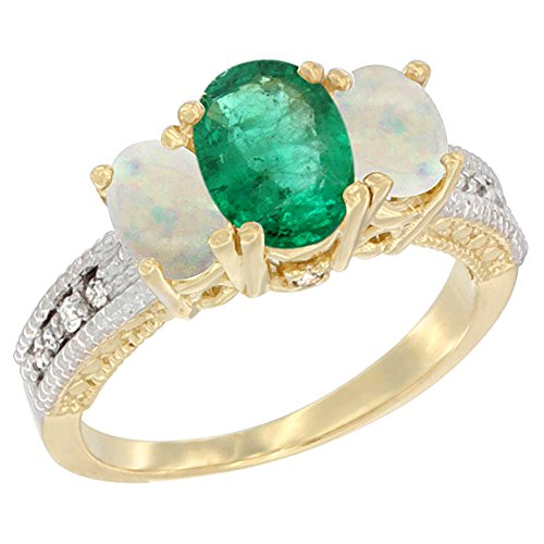 10K Yellow Gold Diamond Natural Emerald Ring Oval 3-stone with Opal, size 7.5