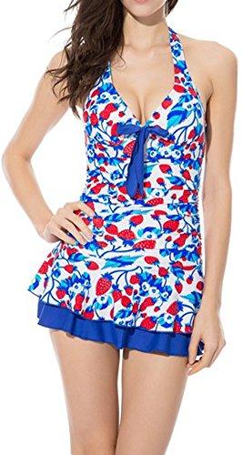 Brand Box One Piece Halter Push Up Ruched Slim Tankini Bathing Suits Swim Dress (XXL, Blue)