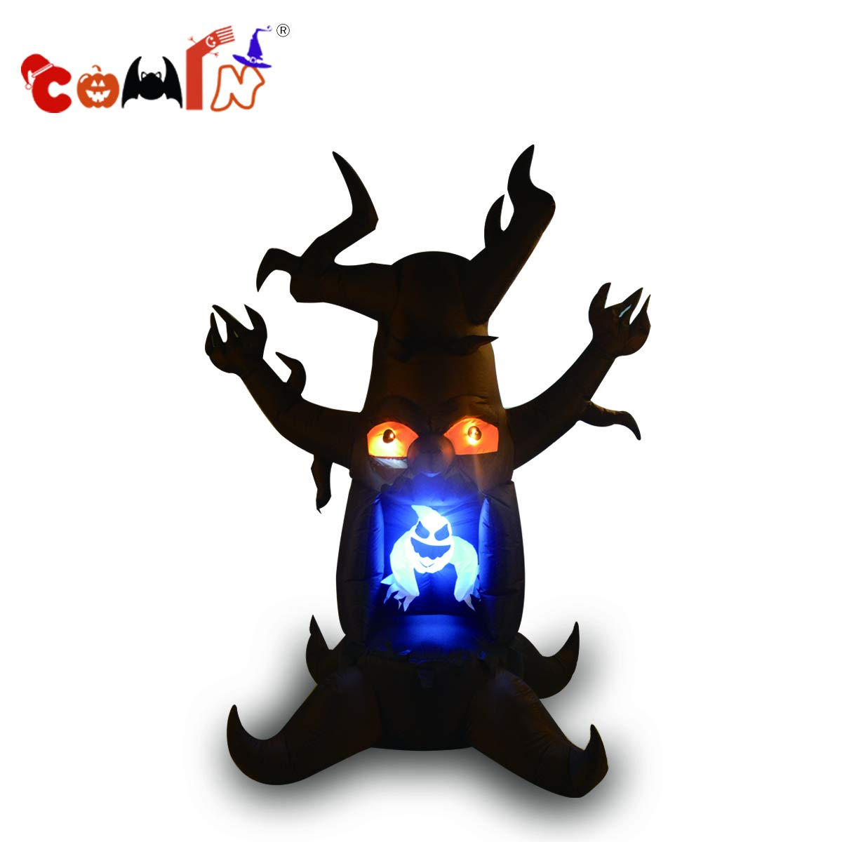 COMIN.NET Halloween Inflatables 8ft White Ghost Blow up from Dead Tree