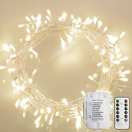 [Remote and Timer] 36ft 100 LED Outdoor Battery Fairy Lights, String Lights for Bedroom, Garden, Easter, Christmas Decoration (8 Modes, Dimmable, IP65 Waterproof, Warm White) (Remote and Timer) (Indoor Decorating Porch)