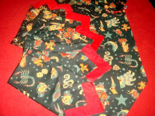 Vintage Style Old School Tattoo Table Runner and Napkins