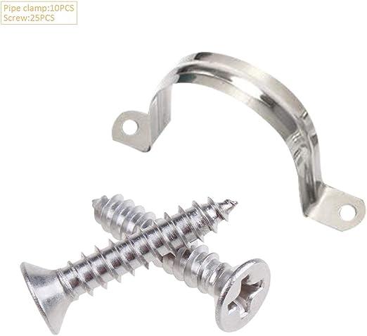 YOFASEN 304 En Acier Inoxydable U-Tube Collier de serrage vis M4*18 * 25pi/èces Colliers de serrage 32mm *10pi/èces Argent