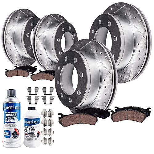 Cab Brake Pad - Detroit Axle - All (4) Front and Rear Drilled and Slotted Disc Brake Rotors w/Ceramic Pads w/Hardware & Brake Cleaner & Fluid for 2006-2008 Dodge Ram 1500 Mega Cab - [2003-2008 Dodge Ram 2500 or 3500]