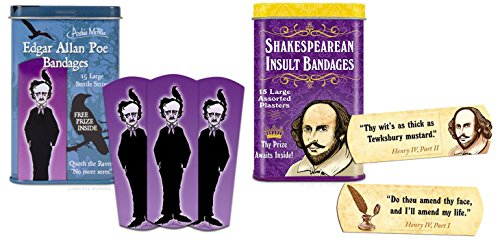 Funny Bandages Set  Shakespearean Insult Bandages   Edgar Allan Poe Bandages