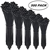 zip ties black - Cable Zip Ties,500 Packs Self-Locking 4+6+8+10+12-Inch Width 0.16inch Nylon Cable Ties,Perfect for Home,Office,Garage and Workshop (Black)