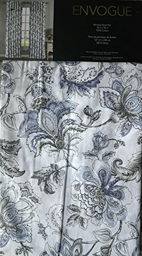 Envogue Window Curtains Turquoise Exotic Jacobean Flowers Border Print Leaves Floral Climbing Vine Garden Branches Road Pocket 100% Cotton Drapes 2 Panels 50-by-96-inch Blue Gray Taupe on White (Print Jacobean Floral)