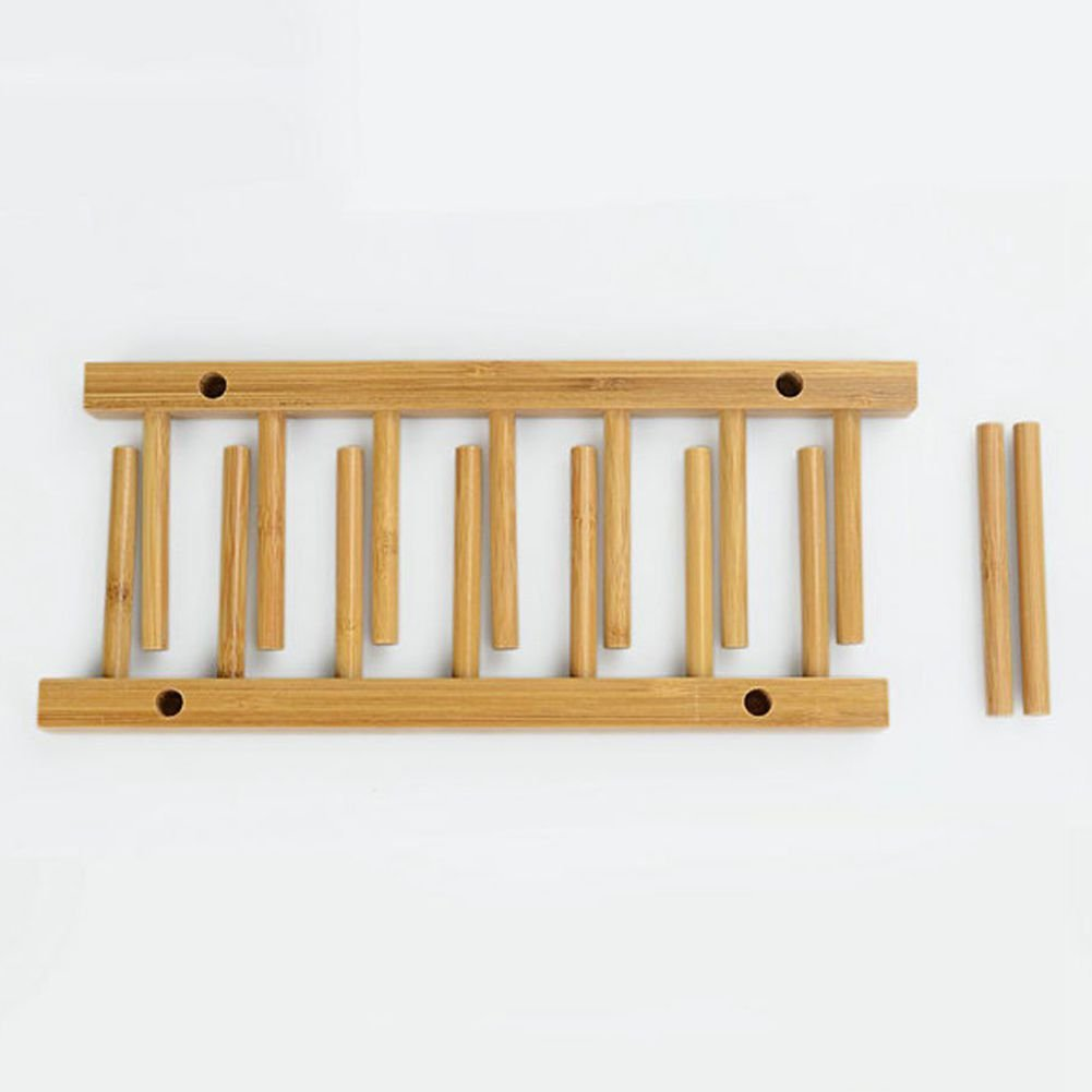 TOOGOO 6 Rejillas Estante Bandeja de Almacenamiento Plato Cocina Sostenedor  Bambu Placa Soporte Escurridor  Amazon.es  Hogar b898bd75b857